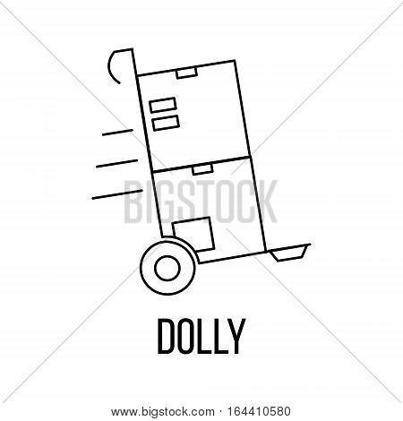 Dolly icon or logo line art style. Vector Illustration.