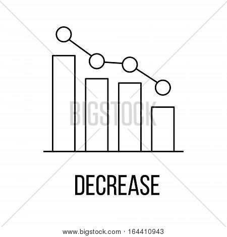 Decrease icon or logo line art style. Vector Illustration.