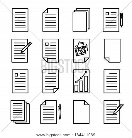 Document or paper icons. Modern line art design. For web sites, brochures, apps and others. Set of 16 variations. Vector illustration on a white background.