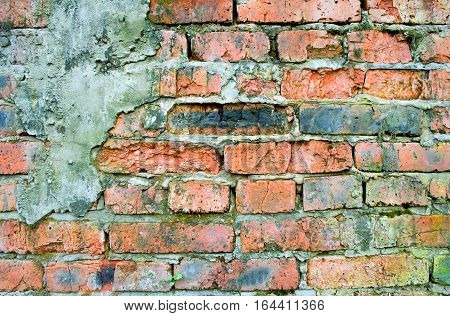 Old brick wall with white paint. Background image