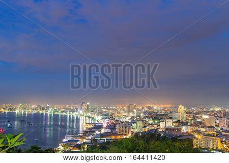 City scape Night Pattaya Chonburi Thailand Viewpoint