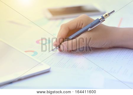 Balance sheet pencil Accounting accounts concept. top view above view.