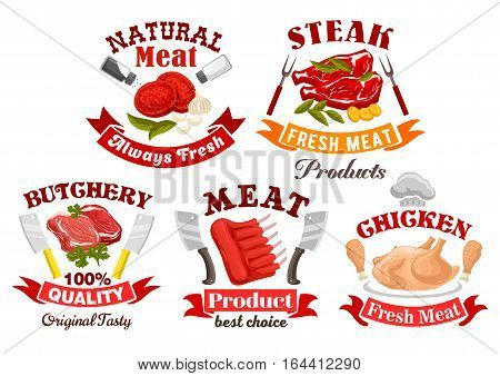 Meat shop and butchery symbol set. Fresh chicken, beef steak and ribs, pork chops and tenderloin slices, framed with ribbon banner, knives and chef hat. Meat farm, steak house menu design