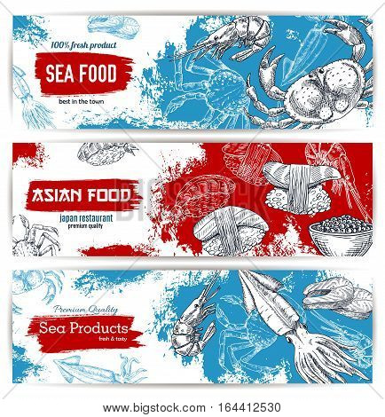 Seafood and japanese cuisine restaurant menu banner set. Fresh fish, crab, salmon steak, sushi, shrimp, caviar and squid sketches. Seafood shop, asian cuisine restaurant design