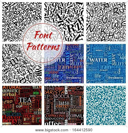 Number and letter font seamless pattern background with arithmetic digits, alphabet symbols, water, coffee and tea word clouds. Scrapbook page backdrop and education theme design