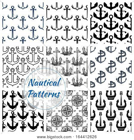 Navy anchor and compasses seamless pattern set. Nautical background of sea anchor with chain, rope and old marine compass rose. Marine transportation and sea travel themes design