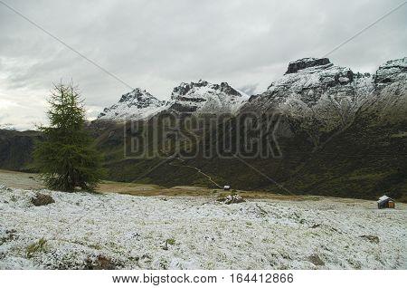 Passo Pordoi: first snow of the season on the Dolomiti mountains, Italy
