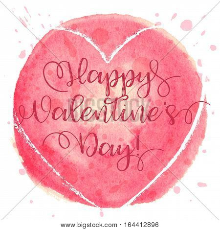 Hand drawn watercolor heart ball with caligraphy text Happy Valentines Day for Valentines day, wedding, dating and other and other romantic events. Vector illustration