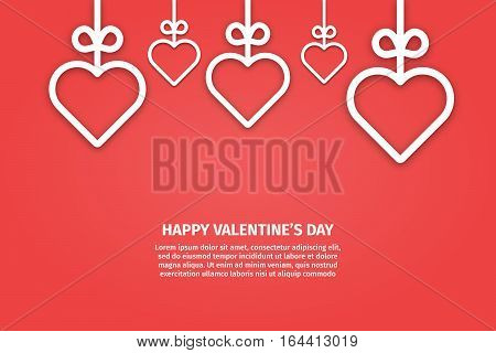 Vector illustration of banner valentines day concept in line style. Graphic design white hearts and ribbons on red background. Outline love symbols objects. Can be add text. Greeting card template.