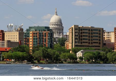 Closeup of Downtown Madison Wisconsin from Lake Monona