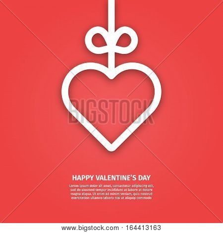 Vector illustration of banner valentines day concept in line style. Graphic design white heart and ribbon on red background. Outline love symbol object. Can be add text. Greeting card template.
