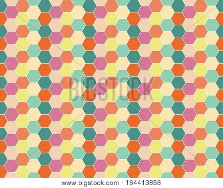 Vector of Multicolored hexagon geometric seamless background.
