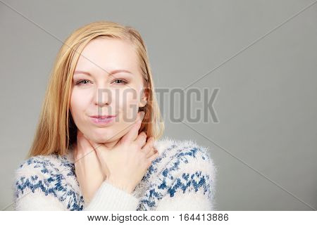 Woman Having Sore Throat Feeling Pain