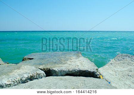 Old rocks in the infinite blue Black Sea