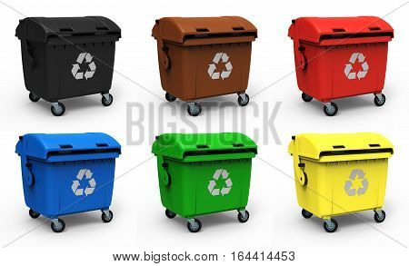 Different colors garbage containers isolated on white background 3D rendering