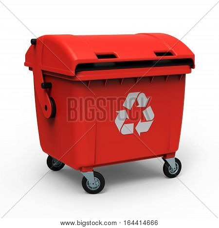 Red garbage container isolated on white background 3D rendering