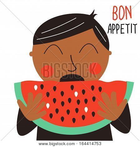 Cute cartoon poster of a boy eating watermelon.