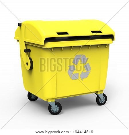 Yellow garbage container isolated on white background 3D rendering