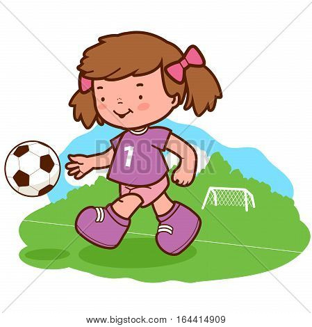 Vector Illustration of a cute girl soccer player kicking a ball on the playing field