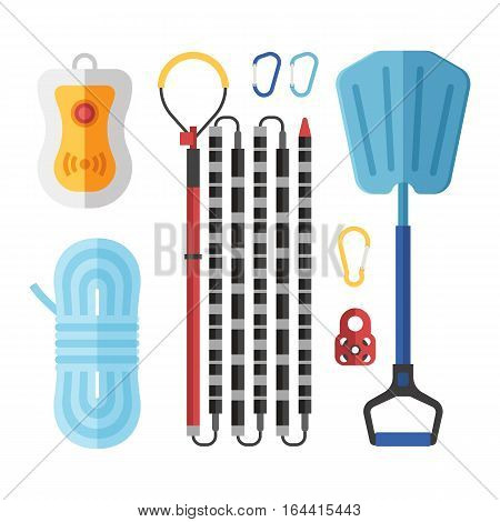 Avalanch rescue kit with probe, snow shovel, rope, beeper and carabiners.  Alpinism protective equipment vector set.