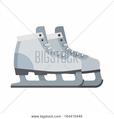 Figure ice skating shoes isolated on white background. White ice-skates vector illustration.