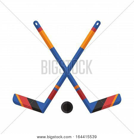 Crossed hockey sticks and puck vector illustration. Winter sports ice-hockey icon.