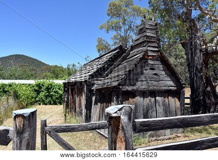 Suggan Buggan Australia - December 25 2016. 1860s wooden schoolhouse. Suggan Buggan is a very small township in the remote wilderness of the Alpine National Park with historical buildings.