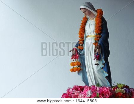 Virgin Mary Statue In Little Light At Thailand