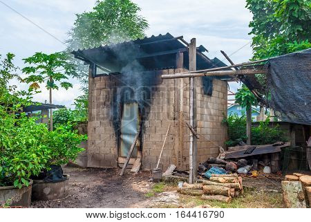 Incinerator Building for Making Wood Coal in Countryside of Thailand