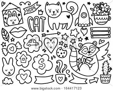 Doodles cute elements. Black vector coloring page. Illustration with hearts and flowers, animals and coffee, clouds and stars. Design for prints and cards.