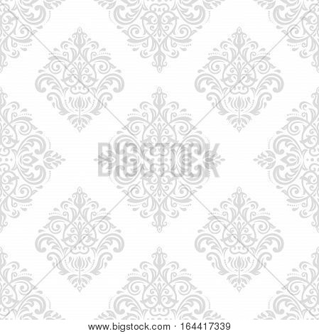 Oriental vector classic light silver pattern. Seamless abstract background with repeating elements. Orient background