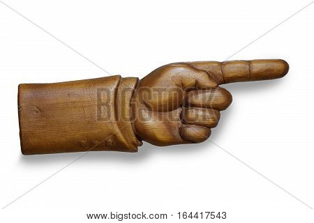 handmade carved out of wood human hand indicates the direction. isolated on white