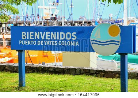 Welcome Sign At The Port In Colonia Del Sacramento, Uruguay