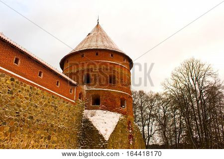 Trakai Castle in winter - Island castle in Trakai is one of the most popular tourist destinations in Lithuania, houses a museum and a cultural centre.