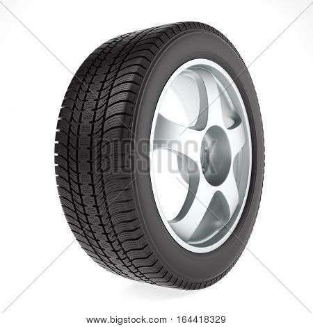 Car wheel with winter tire on white background, 3D illustration