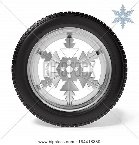 winter tire on the rim in the form of snowflakesl on white background, 3D illustration