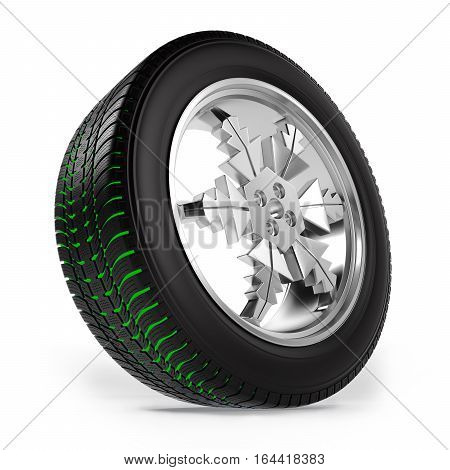 winter tire on the rim in the form of snowflakes with separate tread on white background, 3D illustration