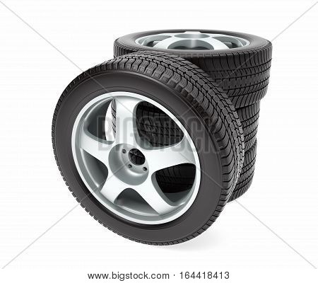 New car wheel with winter tire stacked up and isolated on white background, 3D illustration