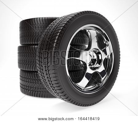 New car wheels with winter tire stacked up and isolated on white background, 3d illustration
