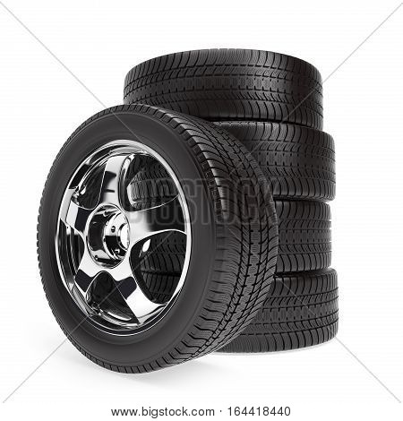 New car wheels with winter tires stacked and isolated on white background, 3d illustration