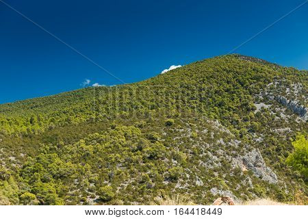 Green Hill and blue sky in Greece
