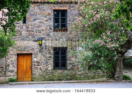Facade Of An Old Stone Building In Colonia Del Sacramento, Uruguay