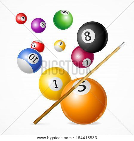 Realistic Billiard Ball with Cue Concept Ready for Cards, Posters Playing Sport Game. Vector illustration