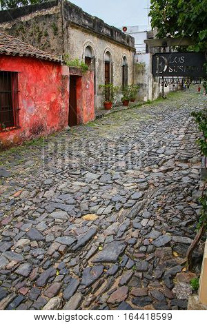 Calle De Los Suspiros (street Of Sighs) In Colonia Del Sacramento, Uruguay