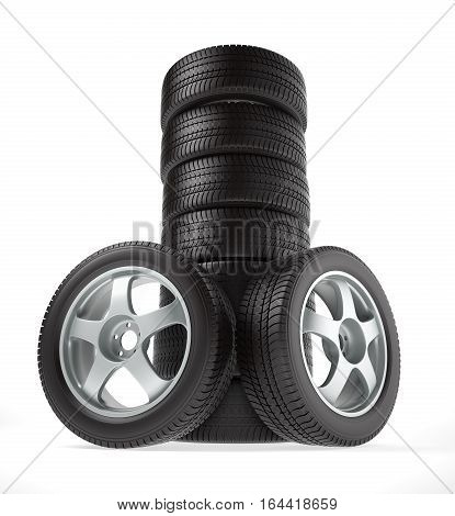 New car wheel stacked up and isolated on white background, 3D illustration