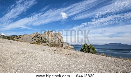 Russia, the Crimean peninsula, the village of New World surroundings. The territory of the nature reserve with relict pines and junipers.
