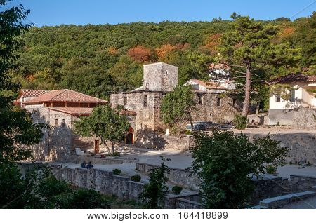 Crimea near the town of Old Crimea . Monastery of the Armenian Apostolic Church of Surb Khach ( Holy Cross Convent ) founded in the fifteenth century . General view of the monastery complex .