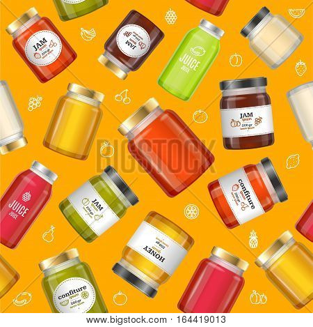 Jar Glass with Jam, Confiture, Honey and Juice Background Pattern on a Yellow. Vector illustration