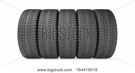 Winter tires isolated on the white background, 3d illustration
