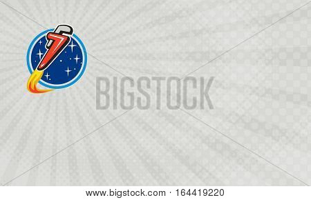 Business card showing Illustration of a pipe wrench rocket booster blasting off orbiting space set inside circle with stars in the background done in retro style.